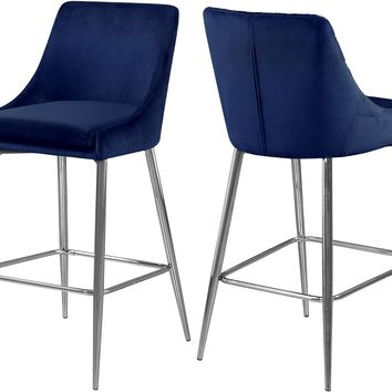 Karina Navy Velvet Stool (set of 2)