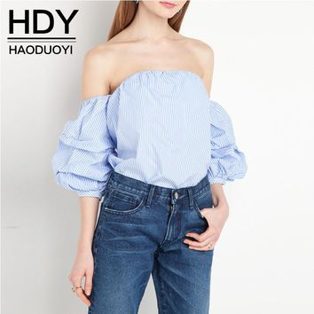 HDY Haoduoyi 2016 Woman Fashion Blue And White Striped Sweet  Blouse Off The Shoulder Puff Sleeve Preppy Style Low Back Shirt