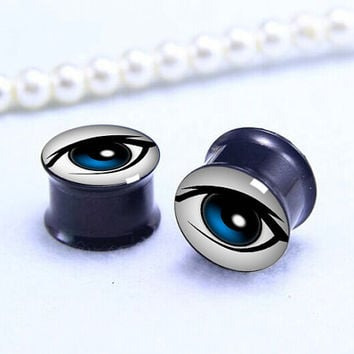 Pairs Humen eyes  Plug  ,Double Flare Tunnels Ear Plugs, Black Titanium ear plugs ,0g,00g ,1/2, 9/16, 5/8, 3/4, 7/8,