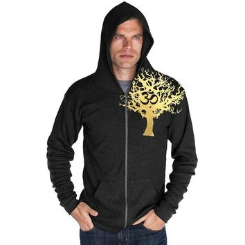 """Mens """"Gold Tree of Life"""" Lightweight Thermal Zippered Hoody"""