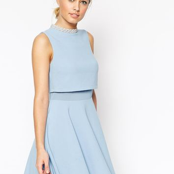 ASOS Crop Top Skater with Embellished Neck Dress