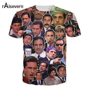 Michael Scott Paparazzi Many Faces T-Shirt Casual Style Tees Tops Men Women Summer Outfits Hipster Crewneck 3D T-Shirt Dropship