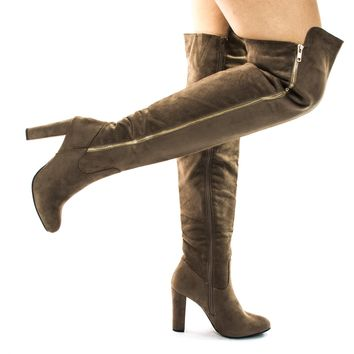 Zola35 Taupe Over The Knee High Block Heel Dress Boots, Women's Thigh High Shoes