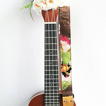 Ukulele strap (ribbon lei flower included)/ hula girl brown A/ hawaiian fabric /ukulele accessory / instrument strap