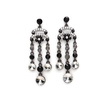 Day Of The Dead - Black And White Color Inspired Chandelier Earrings With Hypoallergenic Metal and Large Clear Crystals