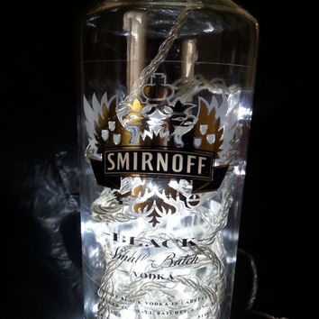 Upcycled Smirnoff Black Vodka Bottle Light Lamp with 30 white LEDs BATTERY operated GIFT Man Cave