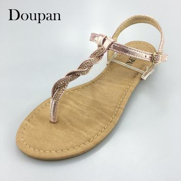Doupan Sandals Women Summer String Bead Pink Silver Simple Shoes Women  sandalias mujeres