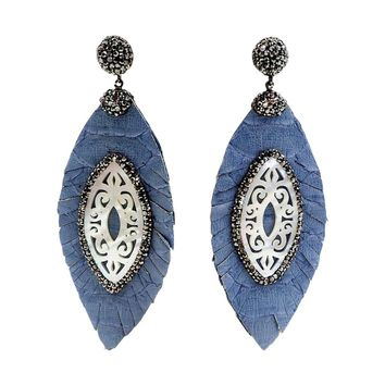 mother of pearl feather leather earrings ocean blue