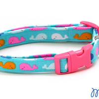 Whale Dog Collar - Colorful Whales on Blue - Mini Small Medium Large XL Dog Collar