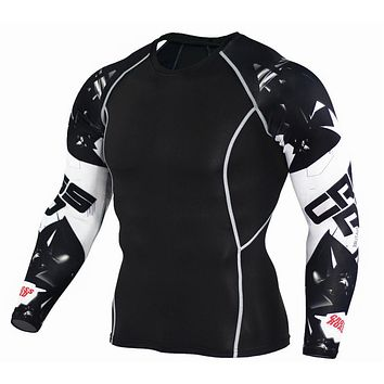 Mens Compression Shirts Bodybuilding Skin Tight Long Sleeves Jerseys Clothings Dry Crossfit Exercise Workout Fitness Sportswear