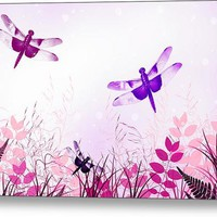 Pink And Purple Dragonfly Art Canvas Print