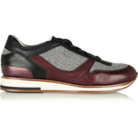 Lanvin - Leather and felt sneakers