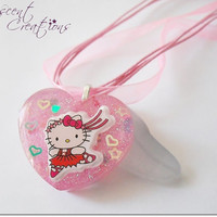Hello Kitty ballet dancer resin charm pendant, HK kawaii resin charm necklace, pink heart pendant, pink heart cat charm necklace for girls