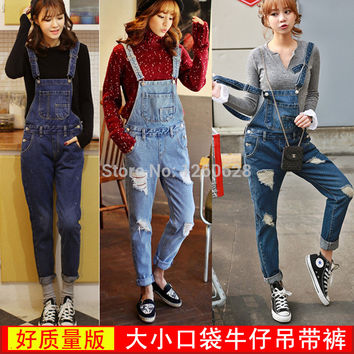 2016 Korean style washed denim jumpsuit women ripped jeans suspenders bib pants casual hole romper pocket overalls 4 colors