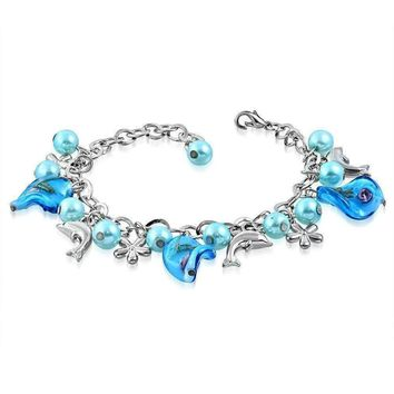 CLEARANCE - Sea Glass Dolphin Charm and Bead Bracelet ~ Three Colors to Choose