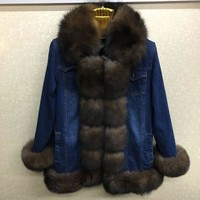 2017 denim parka real fur coat winter jacket women real natural fox fur coat thick warm fur parkas street style new