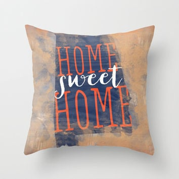 home sweet home alabama - orange and blue Throw Pillow by Mockingbird Avenue