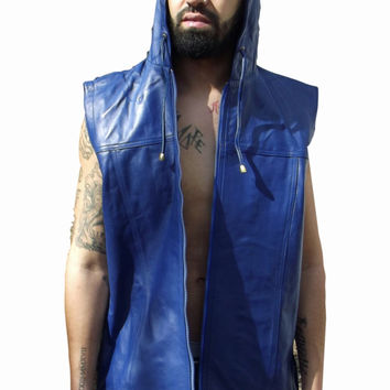 Mens Leather Shirt Blue Hooded Hoodie Zip up Sleeveless Tee Nappa Sheepskin S - 6XL