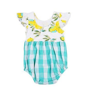 Baby Kids Girls Puffy Floral Lemon Romper Plaid Jumpsuit Clothes