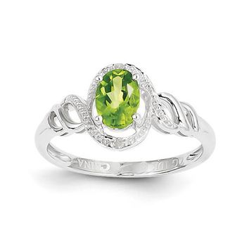 10k White Gold Peridot Diamond Ring