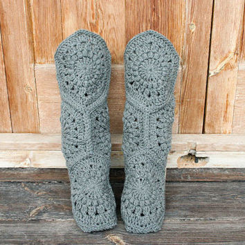 Crochet Home Boot Slippers in One Solid Color