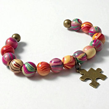 Autism bracelet, autism awareness jewelry, puzzle piece jewelry, mother's jewelry, wooden beaded autism awareness bracelet, autism gifts.