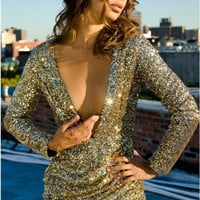 Sexy V-Neck Long Sleeve Sequin Bodycon Mini Dress