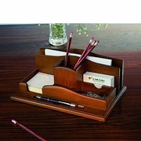 Renaissance Desktop Organizer, Light Walnut Finish.