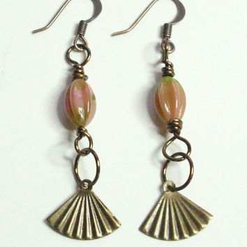 Antique Copper Vintage Bronze Coral Pink Olivine Glass Earrings