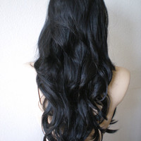 Halloween Special :)) Black wig. Long wavy hair with side bangs high quality Synthetic wig.
