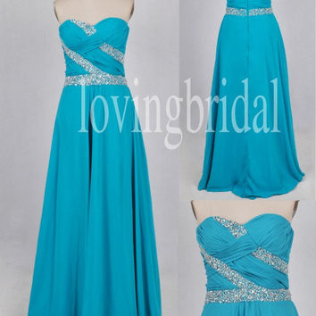 Long Sky Blue Beaded Prom Dresses Party Dresses Homecoming dresses 2014 Fashion