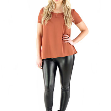 Front Leather Leggings