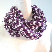 Purple White Striped Infinity Scarf Upcycled Plum White Chunky Cowl Scarf Aubergine Winter Accessories Gifts Under 75 Cyber Monday Etsy
