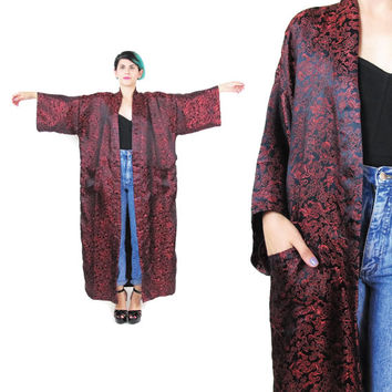 Vintage Chinese Robe Asian Kimono Floral Embroidered Kimono Red Navy Silky Jacket Satin Belted Robe Floor Length Dressing Gown  (L)