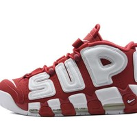 spbest Supreme x Nike Air More Uptempo  Varsity Red