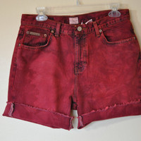 "Vintage Calvin Klein SHORTS - Hand Dyed Dark Red Wine Urban Style Distressed Dyed Denim Vintage Jean Shorts -  Size 10 (32"")"