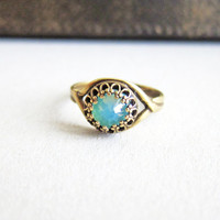 Aquamarine Ring Turquoise Ring Blue Ring Teal Ring Antique Filigree Swarovski Crystal Ring Mother's Day Gift Jewelry Ring