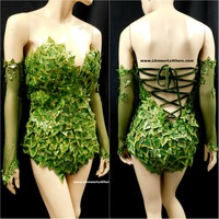 Full Gold Mother Nature Poison Ivy Monokini Body Suit Costume Rave Cosplay Halloween