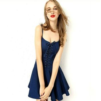 CUPCUPST Fashion Solid Color Bandage Frills Sleeveless Strap Mini Denim Dress