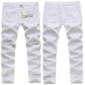 New Mens White Ripped Jeans 100% Cotton Distressed skinny jeans Thinning Cargo Zipper Above Knee Hip-Hop Male Trousers Jeans