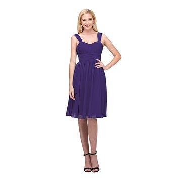 Purple Short Wedding-Guest Dress Ruched-Bodice