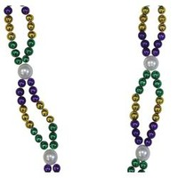36in 8mm Mardi Gras Necklace with 12mm White Pearl Spacers