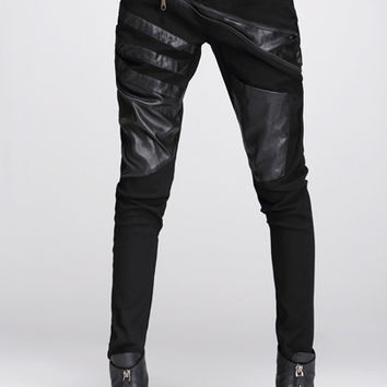 Black Faux Leather Zippered Pants