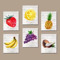Watercolor Fruit Wall Art, Kitchen Pictures, Fruit Vegetables, Food Artwork, Pineapple Grapes, Banana Lemon Set of 6, Canvas or Prints
