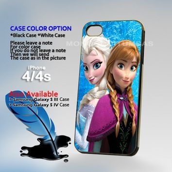 Disney Princess Elsa and Anna Photo On Hard Plastic iPhone 4 4S Case