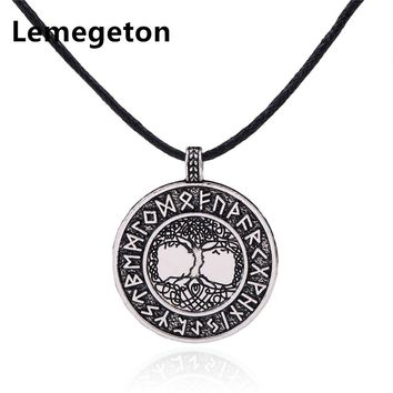 Lemegeton Wicca Norse Viking Runes Tree of Life Seal Pendants Talisman Antique Charms Men's Necklaces Amulet Jewelry Making