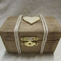 Stained Aged Beach NAutical Chest with Heart Jute Rope Wedding Ring Bearers Box