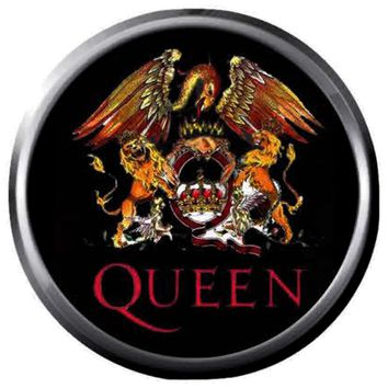 Freddie Mercury Artist Creates Queen Crest Logo On Black Band Members Rock And Roll Hall Of Fame Musicians 18MM - 20MM Fashion Snap Jewelry Snap Charm