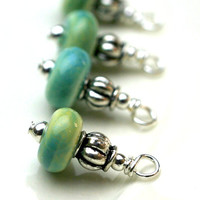 Vintage Style Turquoise Colored Porcelain Bead Dangle Charm Drop Set