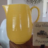 Pitcher Ribbed Mid Century Ribbed Yellow Stoneware by shoppnspree